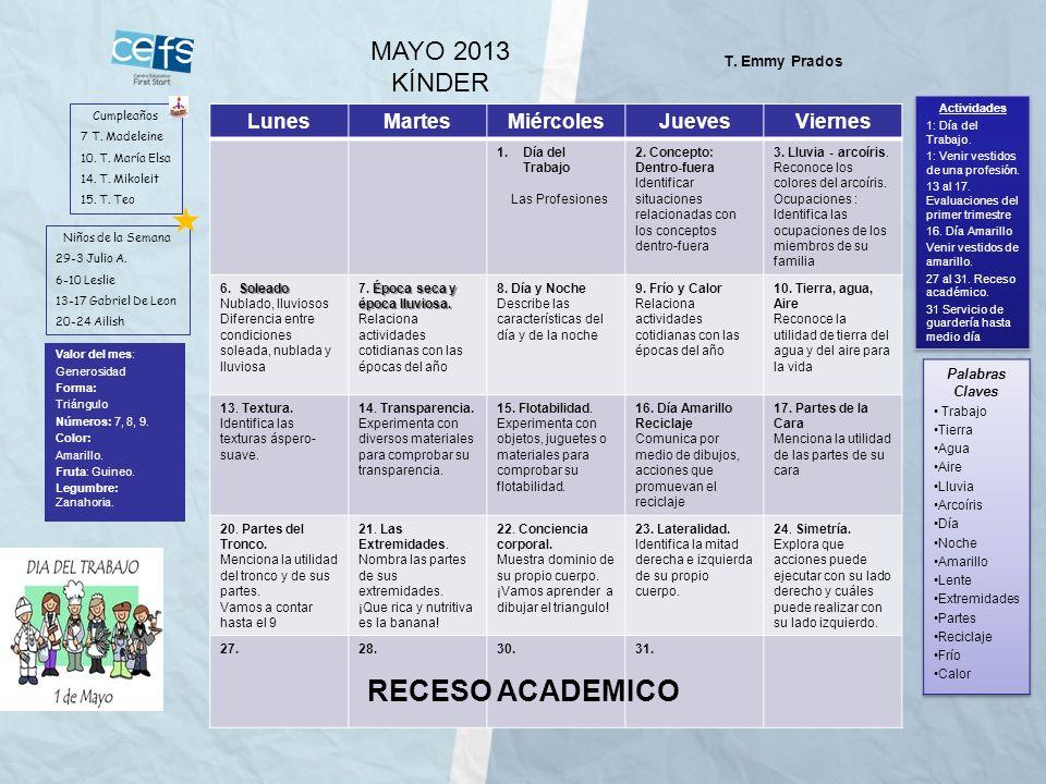 RECESO ACADEMICO MAYO 2013 KÍNDER Lunes Martes Miércoles Jueves