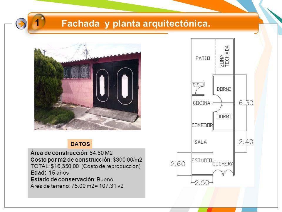 Fachada y planta arquitectónica.