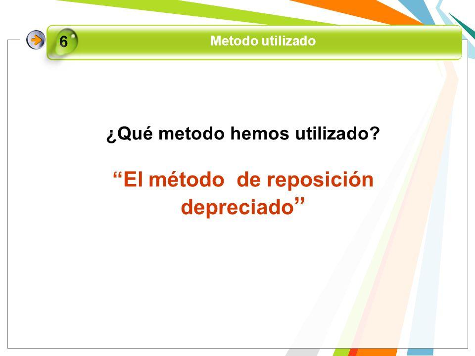 ¿Qué metodo hemos utilizado El método de reposición depreciado