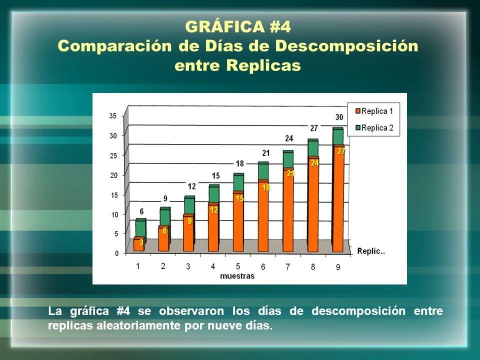 GRÁFICA #4 Comparación de Días de Descomposición entre Replicas