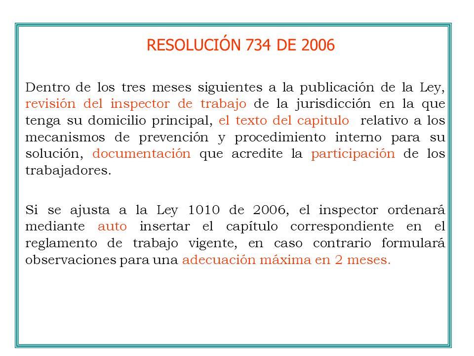 RESOLUCIÓN 734 DE 2006