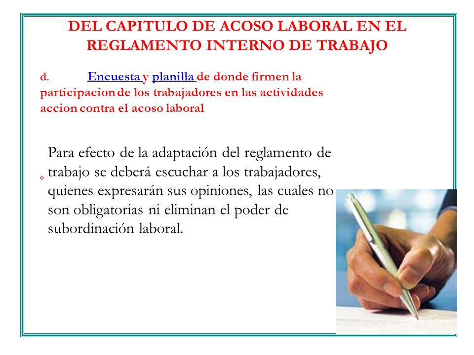 DEL CAPITULO DE ACOSO LABORAL EN EL REGLAMENTO INTERNO DE TRABAJO
