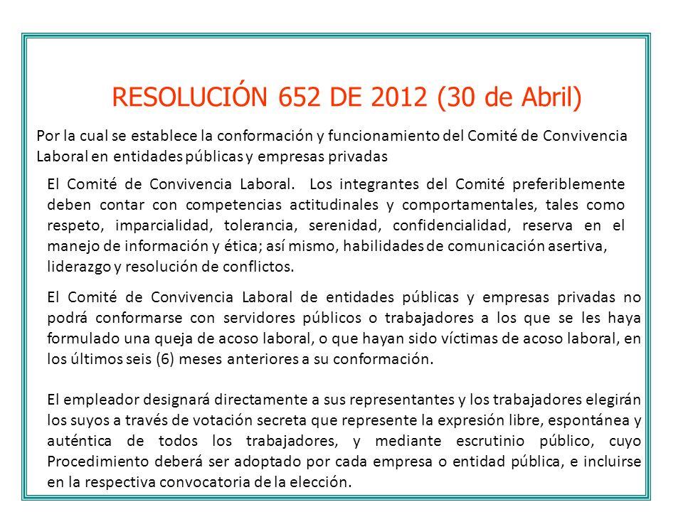 RESOLUCIÓN 652 DE 2012 (30 de Abril)