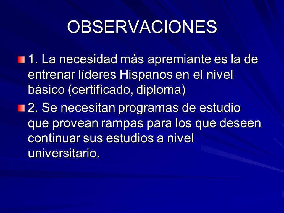 OBSERVACIONES 1. La necesidad más apremiante es la de entrenar líderes Hispanos en el nivel básico (certificado, diploma)