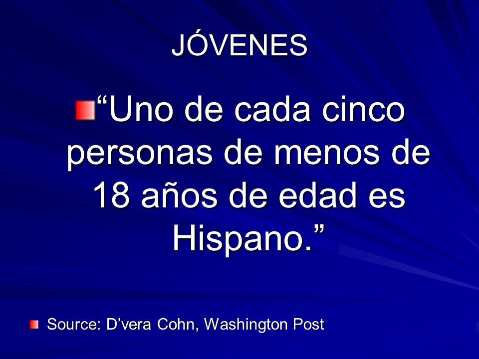Uno de cada cinco personas de menos de 18 años de edad es Hispano.