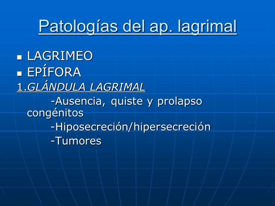 Patologías del ap. lagrimal
