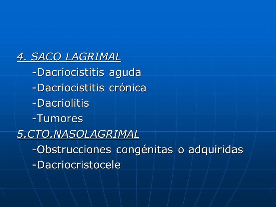 4. SACO LAGRIMAL -Dacriocistitis aguda. -Dacriocistitis crónica. -Dacriolitis. -Tumores. 5.CTO.NASOLAGRIMAL.