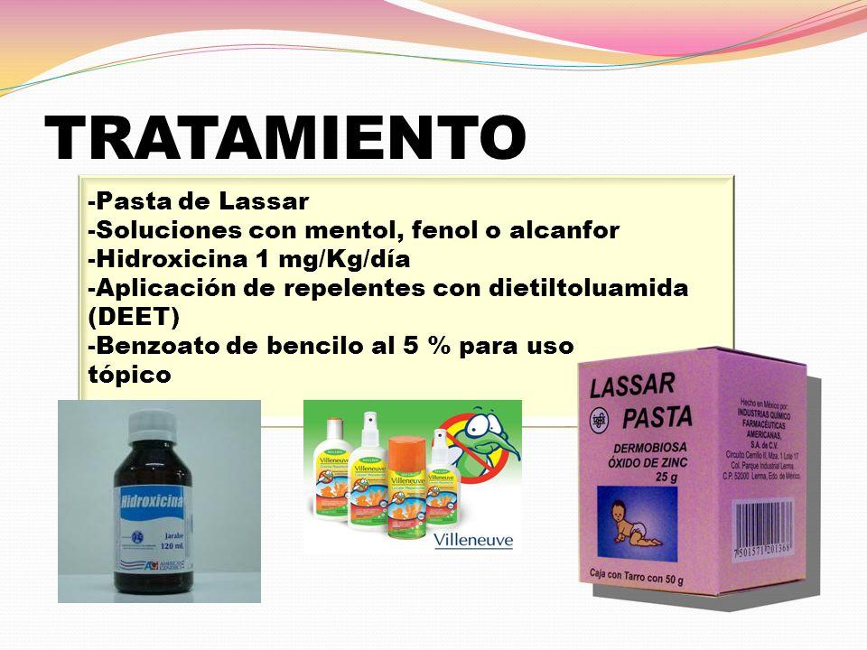 TRATAMIENTO -Pasta de Lassar -Soluciones con mentol, fenol o alcanfor