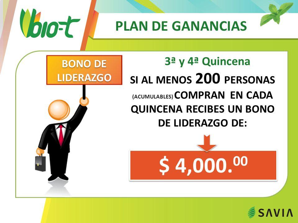 $ 4,000.00 PLAN DE GANANCIAS 3ª y 4ª Quincena BONO DE LIDERAZGO