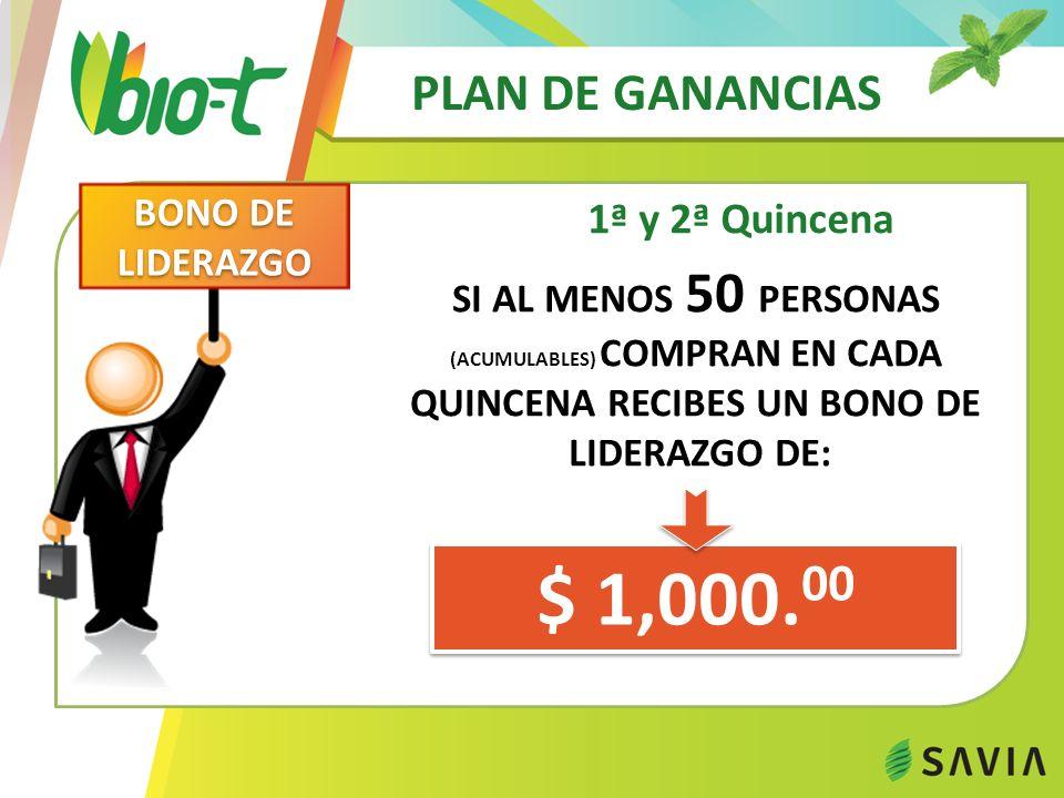 $ 1,000.00 PLAN DE GANANCIAS 1ª y 2ª Quincena BONO DE LIDERAZGO