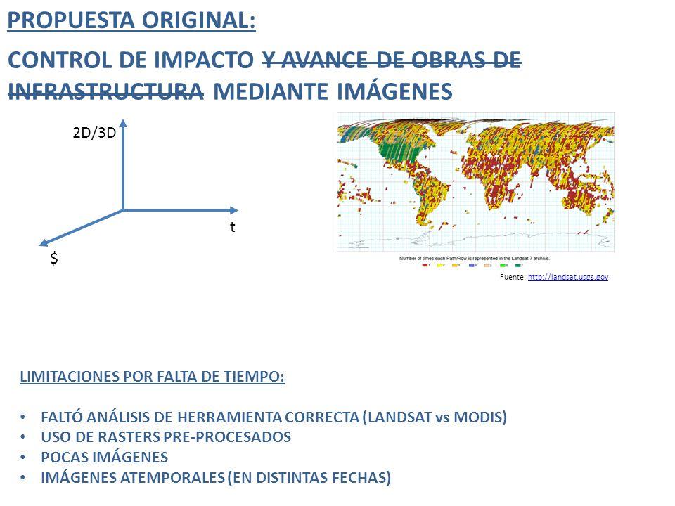 PROPUESTA ORIGINAL: CONTROL DE IMPACTO Y AVANCE DE OBRAS DE INFRASTRUCTURA MEDIANTE IMÁGENES. 2D/3D.