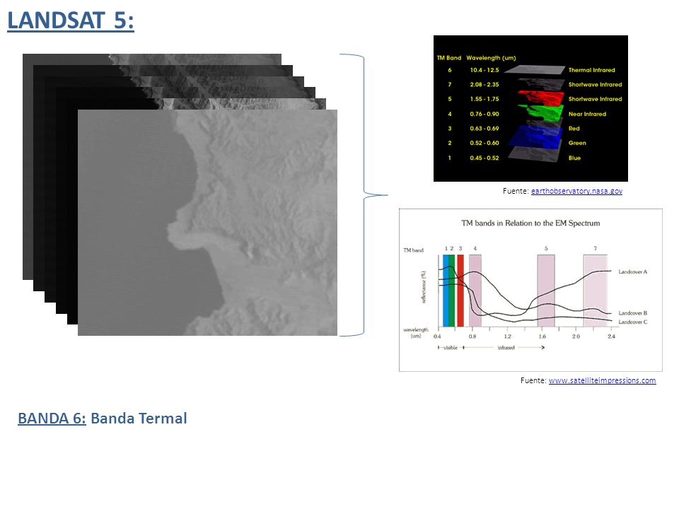 LANDSAT 5: BANDA 6: Banda Termal Fuente: earthobservatory.nasa.gov
