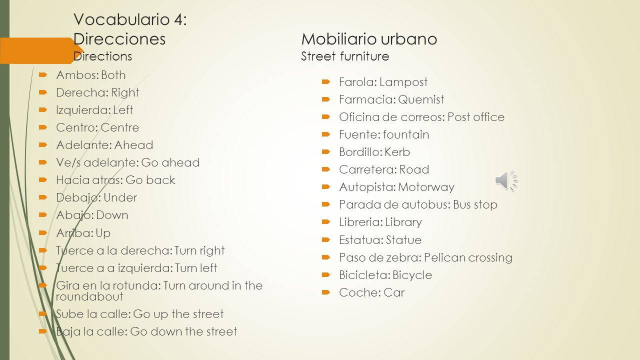 Vocabulario 4: Direcciones Mobiliario urbano Directions Street furniture