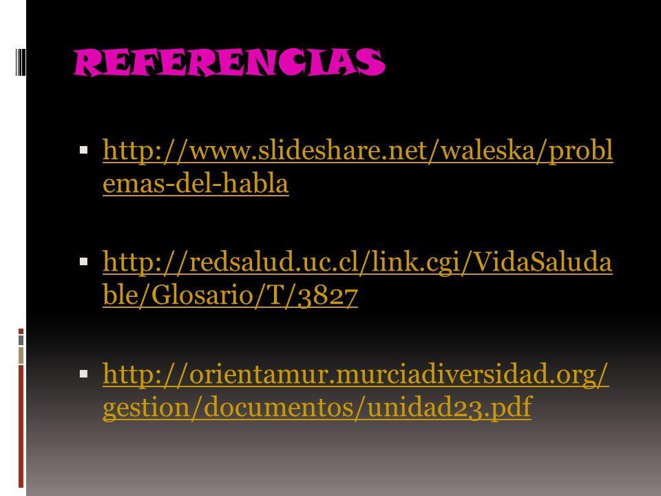 REFERENCIAS http://www.slideshare.net/waleska/probl emas-del-habla