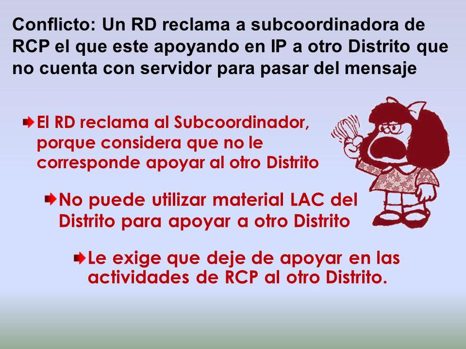 Conflicto: Un RD reclama a subcoordinadora de RCP el que este apoyando en IP a otro Distrito que no cuenta con servidor para pasar del mensaje