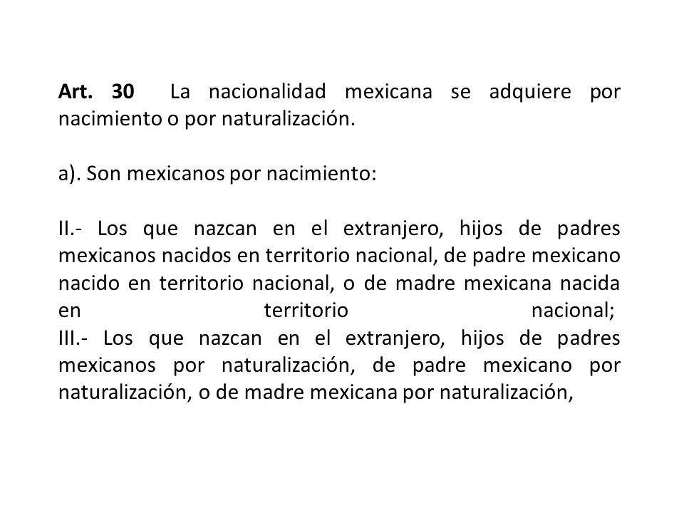 Art. 30 La nacionalidad mexicana se adquiere por nacimiento o por naturalización.