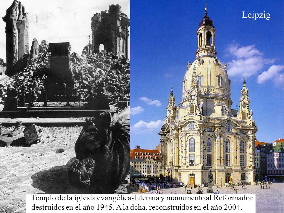Leipzig Templo de la iglesia evangélica-luterana y monumento al Reformador destruidos en el año 1945.