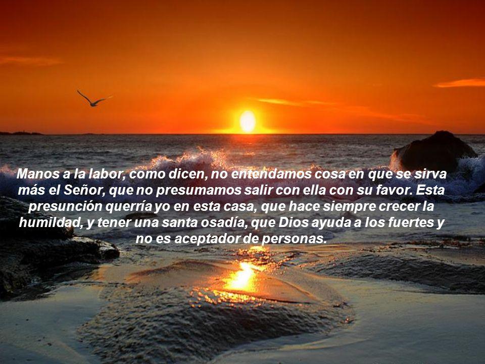 Manos a la labor, como dicen, no entendamos cosa en que se sirva más el Señor, que no presumamos salir con ella con su favor.