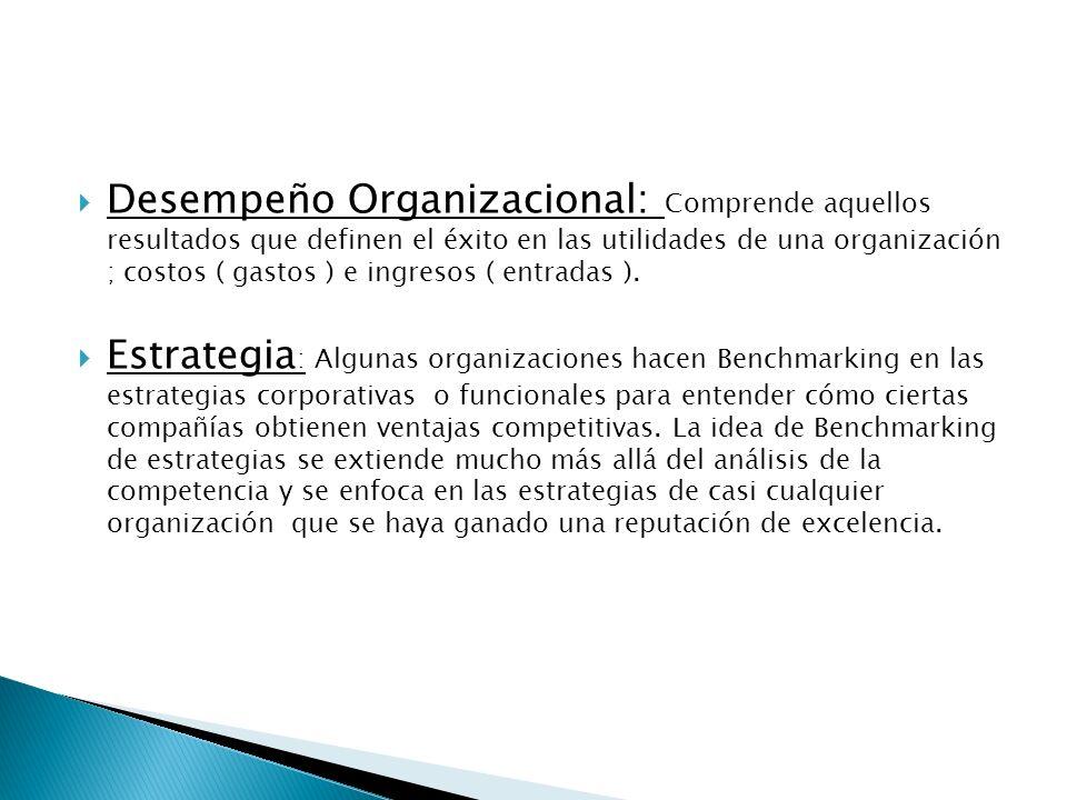 Desempeño Organizacional: Comprende aquellos resultados que definen el éxito en las utilidades de una organización ; costos ( gastos ) e ingresos ( entradas ).