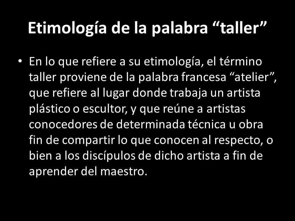 Etimología de la palabra taller