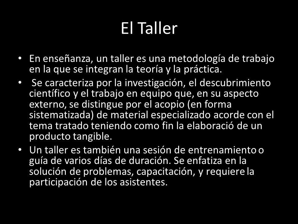 El Taller En enseñanza, un taller es una metodología de trabajo en la que se integran la teoría y la práctica.