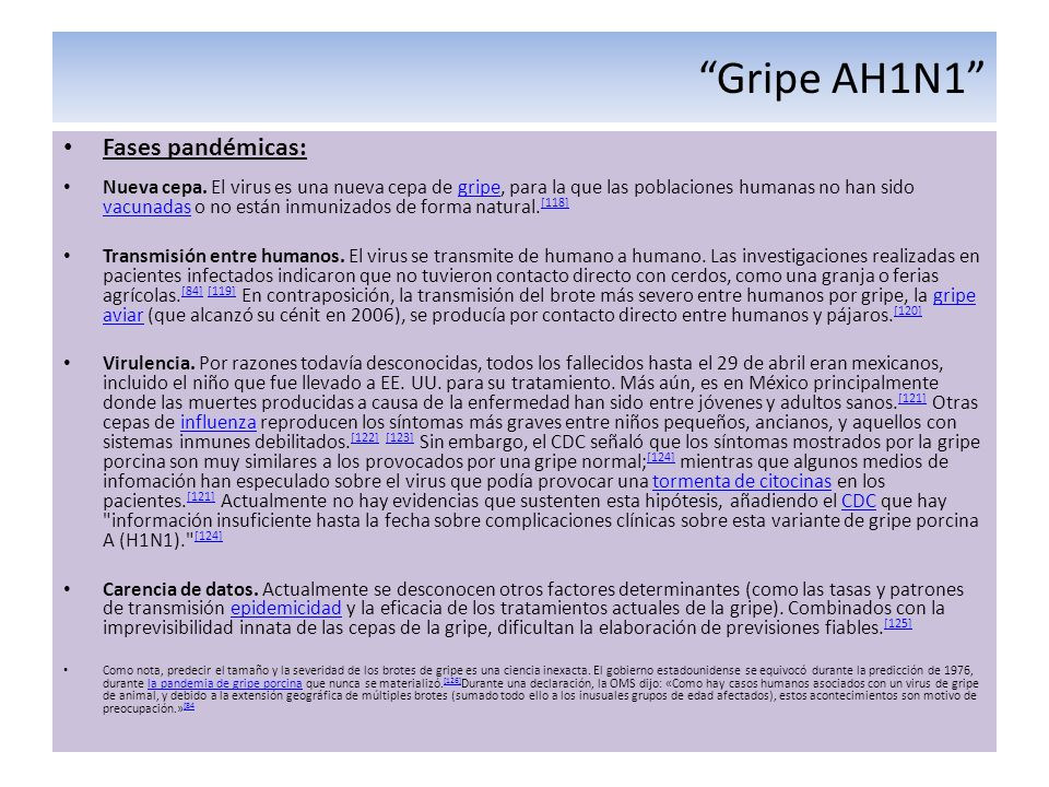 Gripe AH1N1 Fases pandémicas: