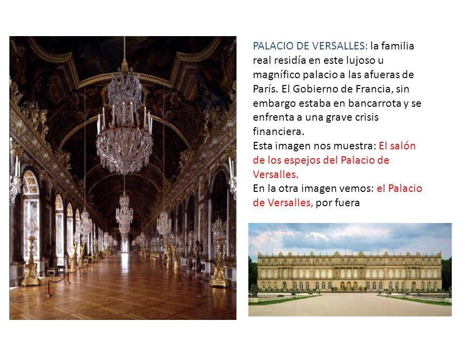 PALACIO DE VERSALLES: la familia real residía en este lujoso u magnífico palacio a las afueras de París. El Gobierno de Francia, sin embargo estaba en bancarrota y se enfrenta a una grave crisis financiera.