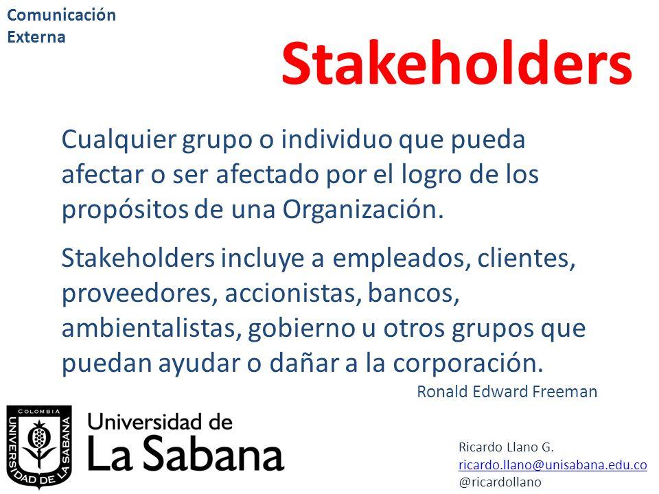 Comunicación Externa Stakeholders. Cualquier grupo o individuo que pueda afectar o ser afectado por el logro de los propósitos de una Organización.
