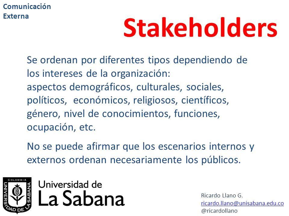 Comunicación Externa Stakeholders. Se ordenan por diferentes tipos dependiendo de los intereses de la organización: