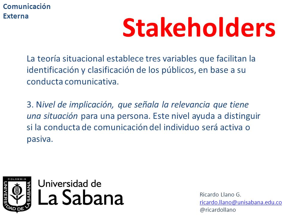 Comunicación Externa Stakeholders.
