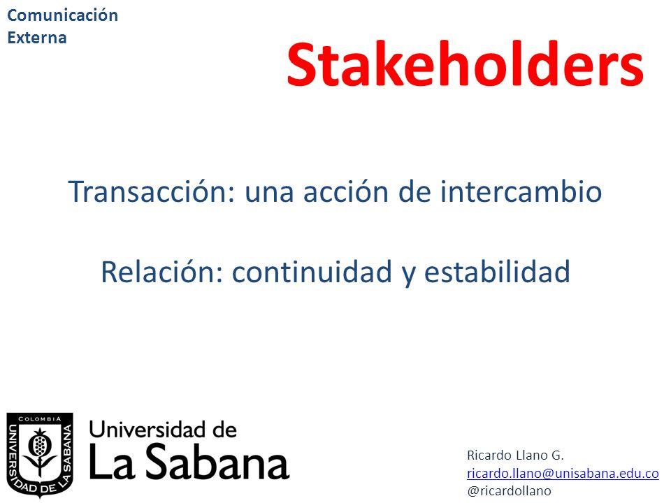 Stakeholders Transacción: una acción de intercambio