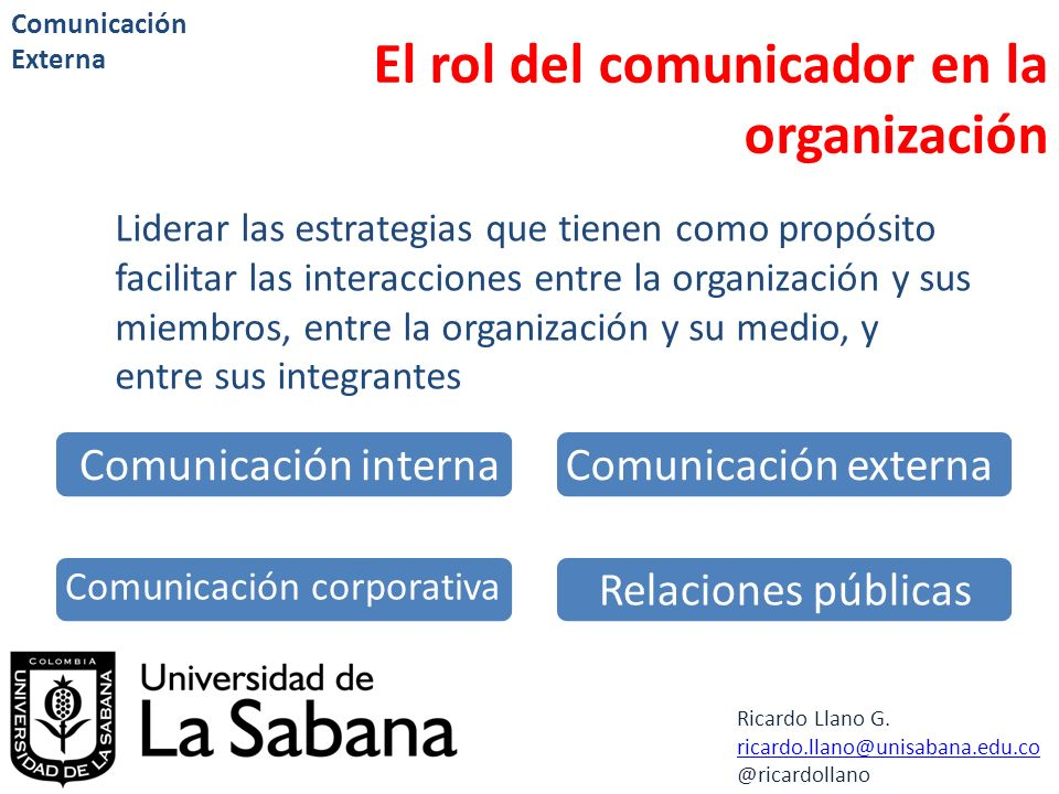 El rol del comunicador en la organización