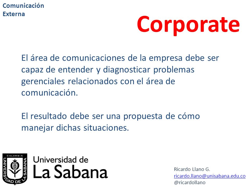 Comunicación Externa Corporate.