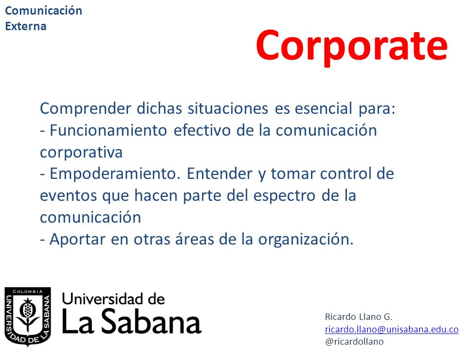 Corporate Comprender dichas situaciones es esencial para: