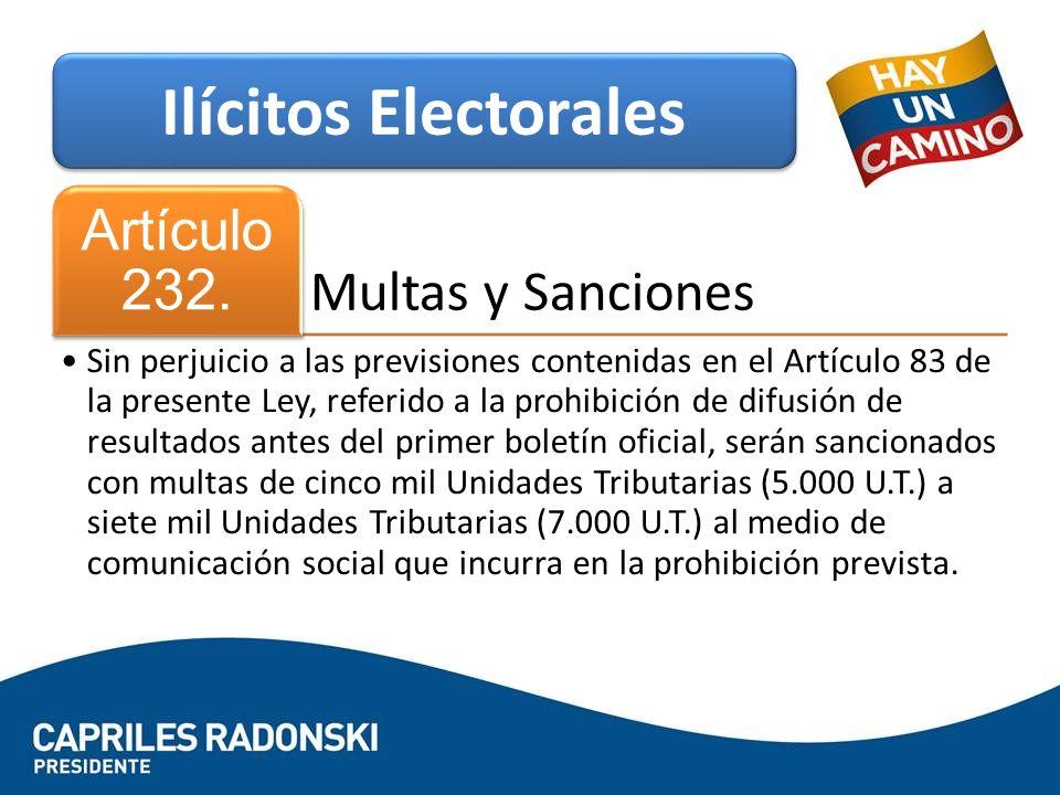 Ilícitos Electorales Artículo 232. Multas y Sanciones