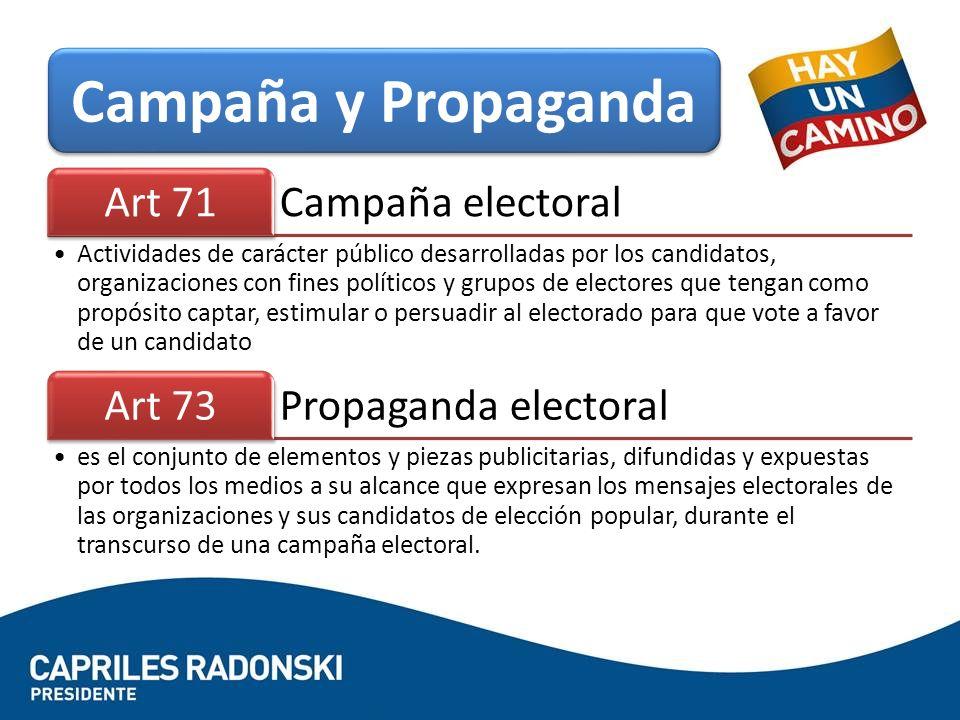 Campaña y Propaganda Campaña electoral Art 71 Propaganda electoral