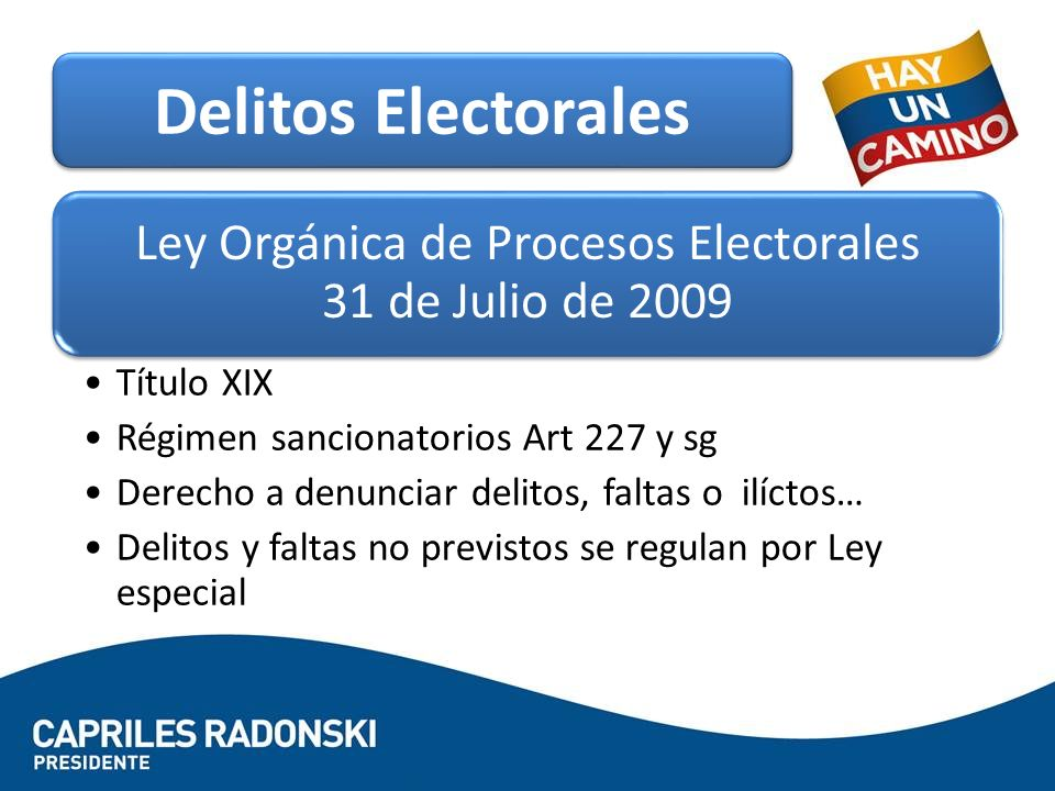 Ley Orgánica de Procesos Electorales 31 de Julio de 2009