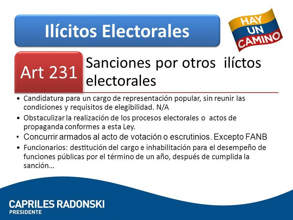 Ilícitos Electorales Art 231 Sanciones por otros ilíctos electorales