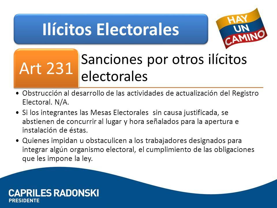 Ilícitos Electorales Art 231 Sanciones por otros ilícitos electorales