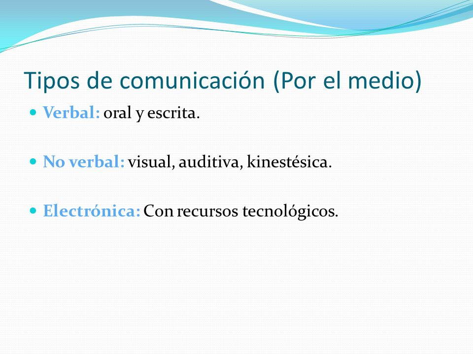 Tipos de comunicación (Por el medio)