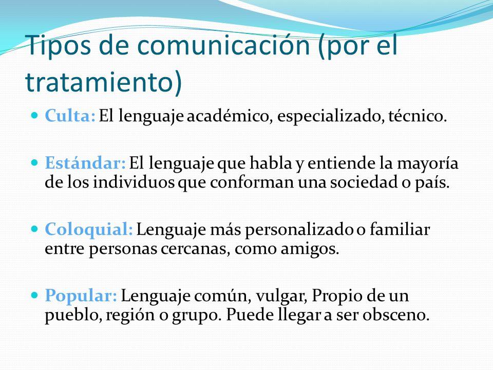Tipos de comunicación (por el tratamiento)