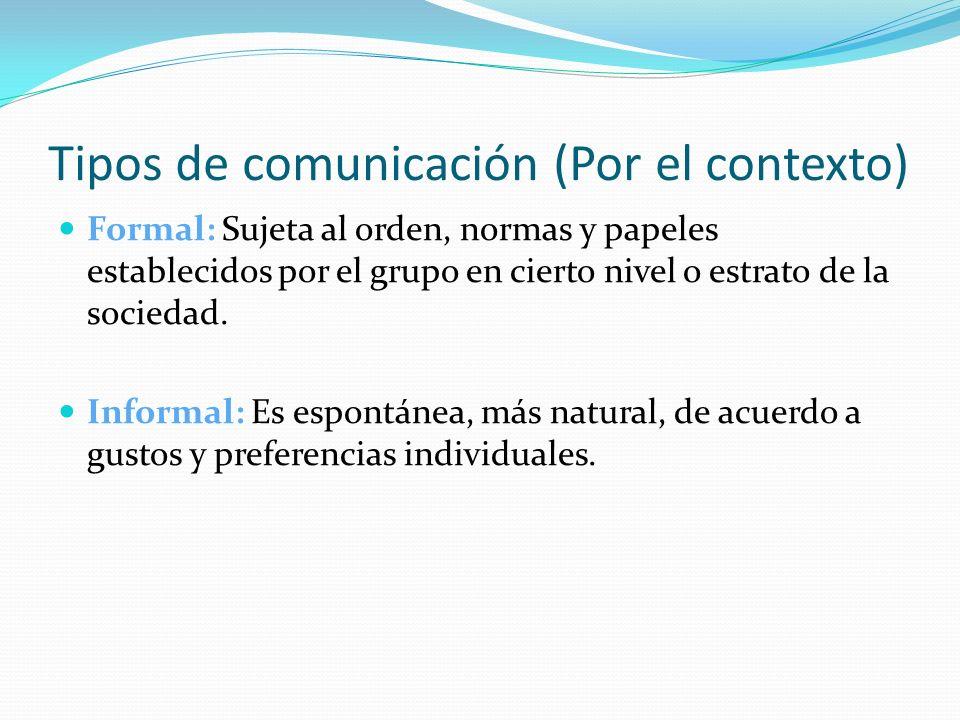 Tipos de comunicación (Por el contexto)