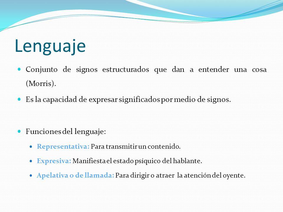 Lenguaje Conjunto de signos estructurados que dan a entender una cosa (Morris). Es la capacidad de expresar significados por medio de signos.