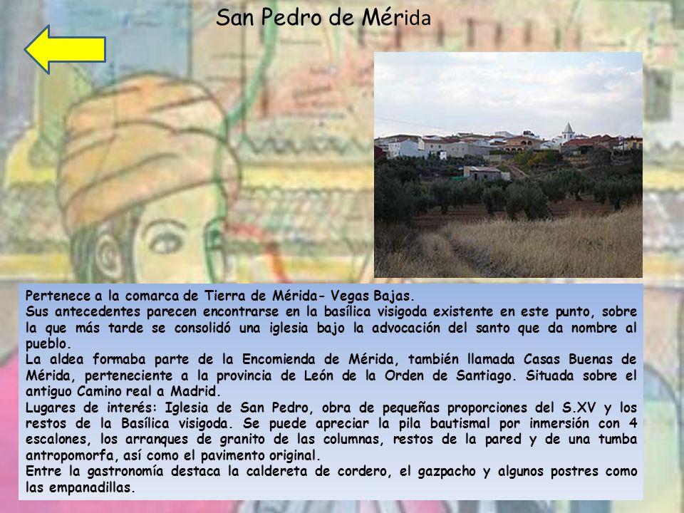 San Pedro de Mérida Pertenece a la comarca de Tierra de Mérida- Vegas Bajas.