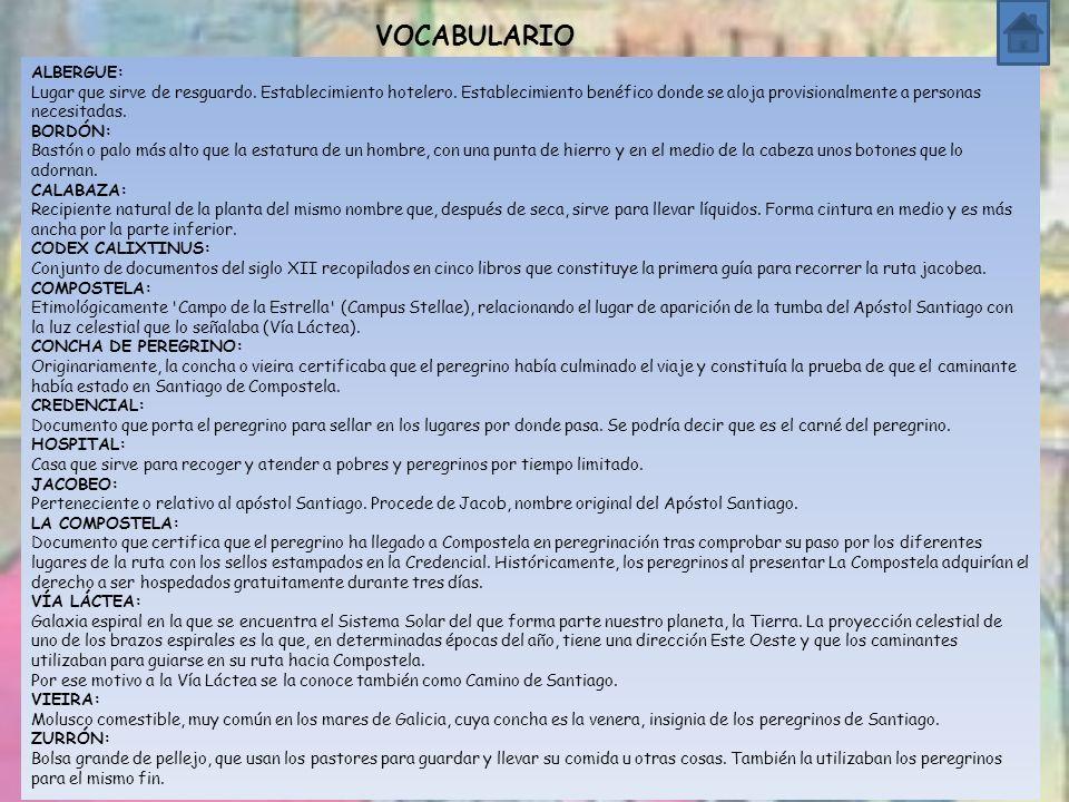 VOCABULARIO ALBERGUE: