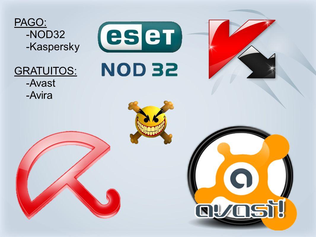 PAGO: -NOD32 -Kaspersky GRATUITOS: -Avast -Avira