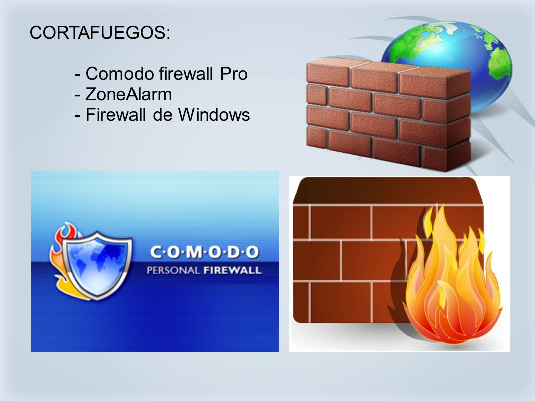 CORTAFUEGOS: - Comodo firewall Pro - ZoneAlarm - Firewall de Windows