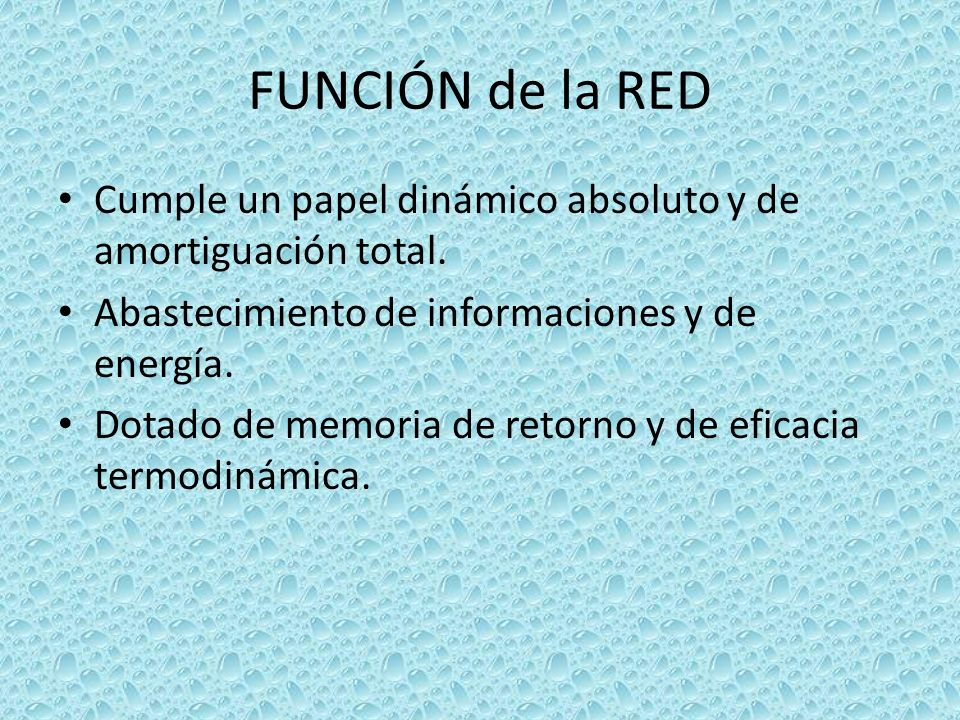 FUNCIÓN de la RED Cumple un papel dinámico absoluto y de amortiguación total. Abastecimiento de informaciones y de energía.