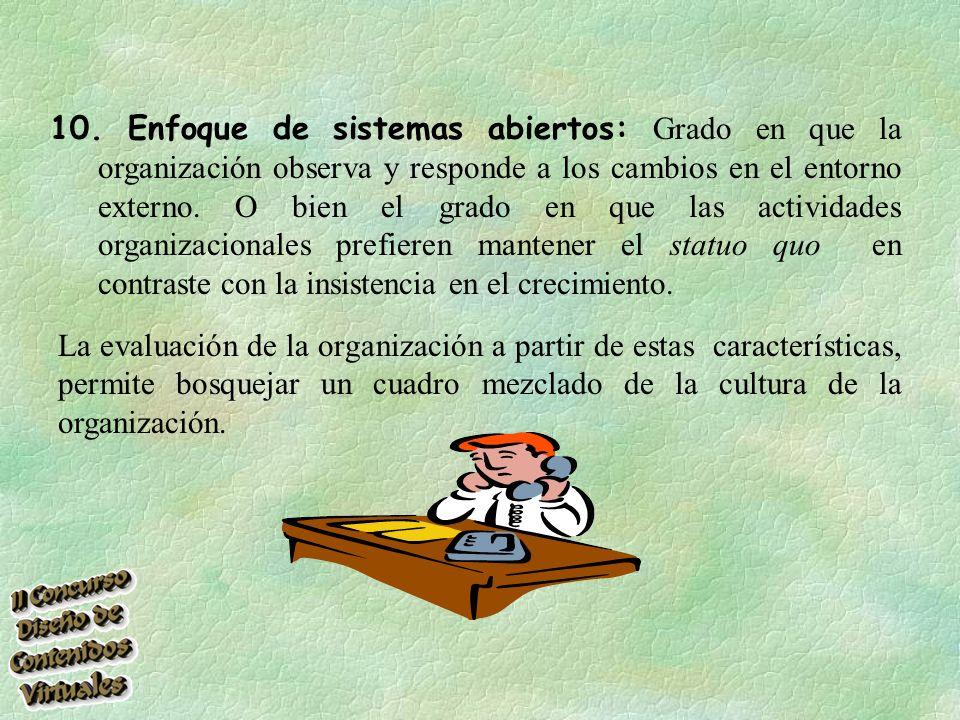 10. Enfoque de sistemas abiertos: Grado en que la organización observa y responde a los cambios en el entorno externo. O bien el grado en que las actividades organizacionales prefieren mantener el statuo quo en contraste con la insistencia en el crecimiento.