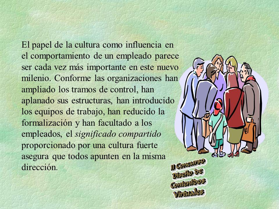 El papel de la cultura como influencia en el comportamiento de un empleado parece ser cada vez más importante en este nuevo milenio.